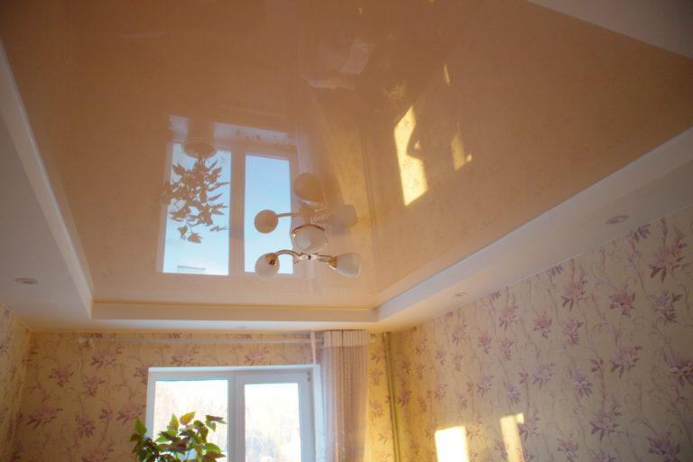 №43 Глянцевый цветной потолок в зал