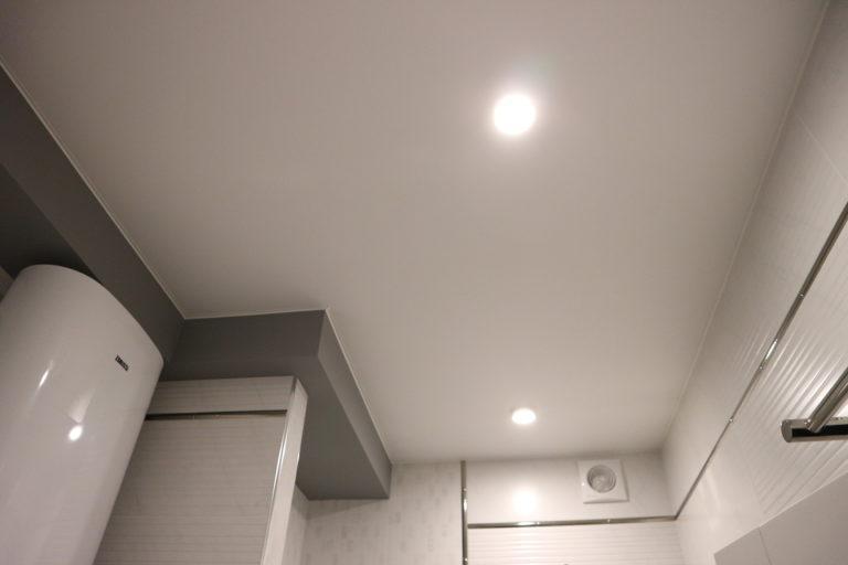 83 Белый матовый натяжной потолок в туалет