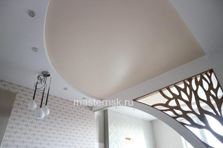 263 Двухуровневый Сатиновый цветной бежевый натяжной потолок в спальню (комнату) Новосибирск