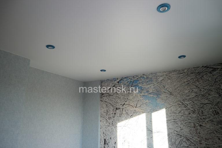 265 Матовый белый натяжной потолок в спальню Новосибирск