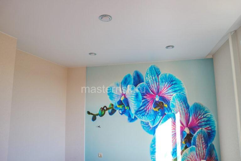 272 Матовый белый натяжной потолок в спальню Новосибирск