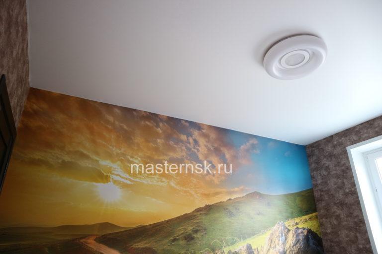 273 Сатиновый белый натяжной потолок в спальню Новосибирск
