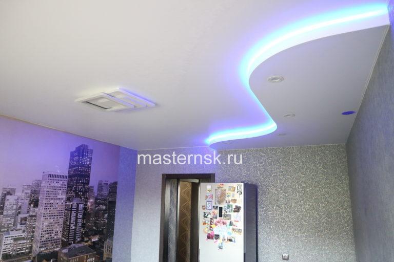 274 Матовый белый двухуровневый натяжной потолок в кухню с подсветкой Новосибирск