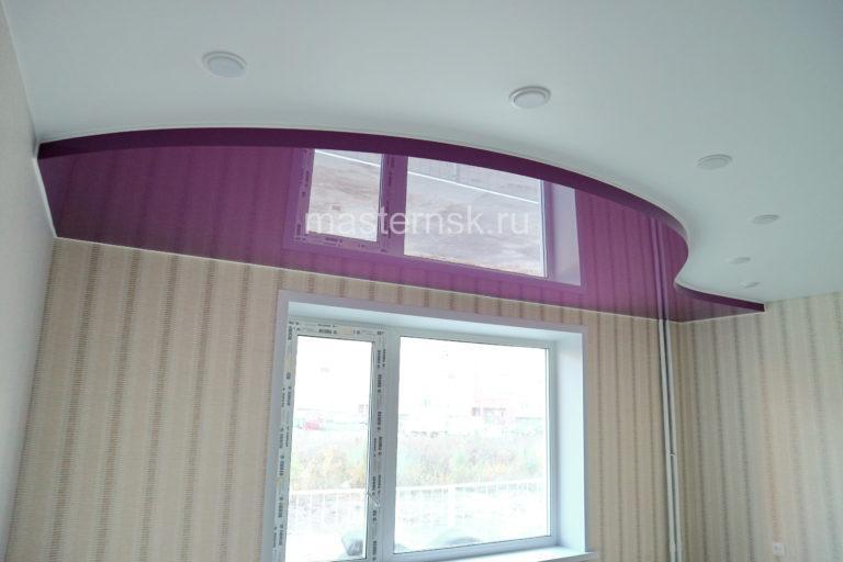 № 103 Двухуровневый матовый белый и цветной потолок в зал