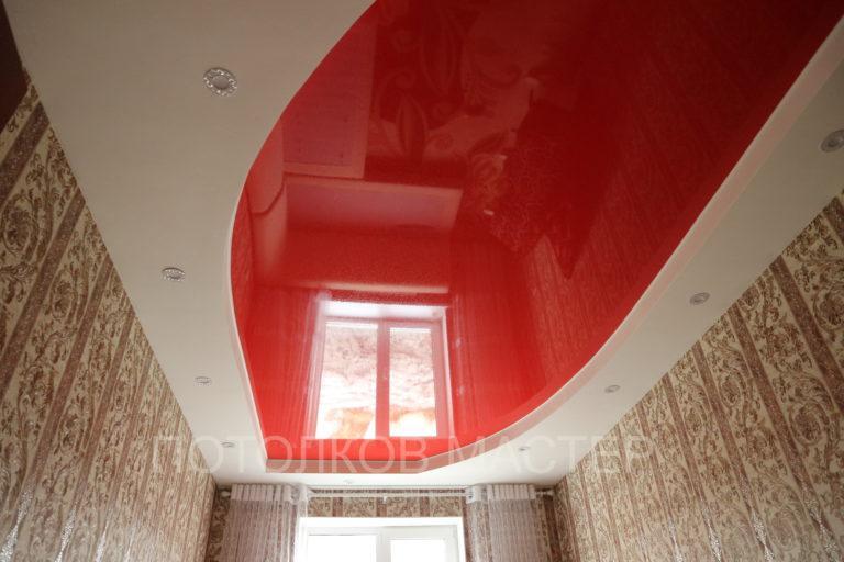 122 Глянцевый красный натяжной потолок в комнату