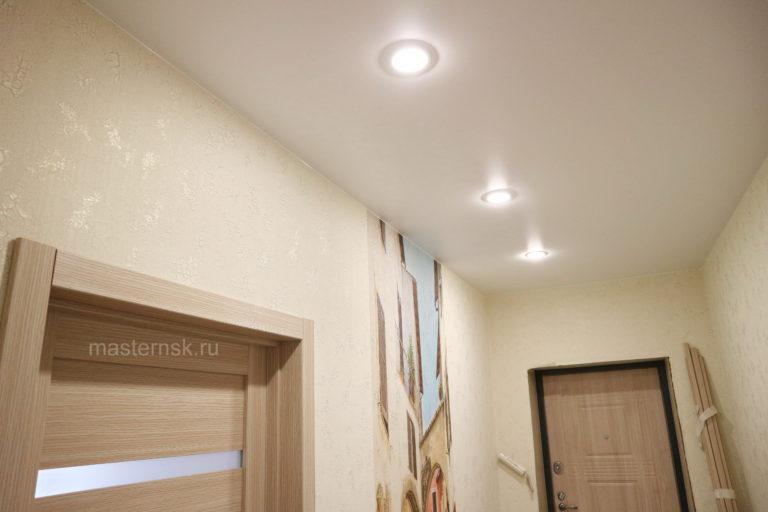 169 Матовый натяжной белый потолок в коридор