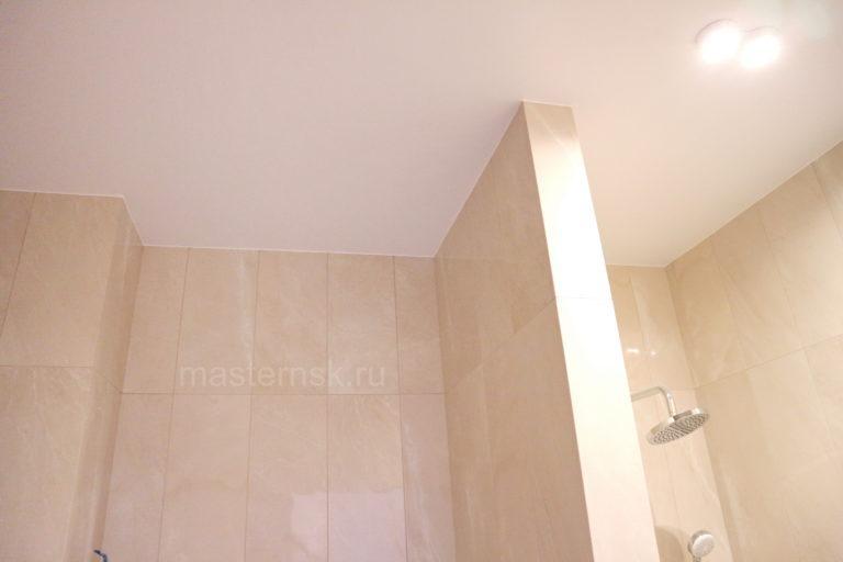 162 Матовый натяжной белый потолок в ванную Новосибирск