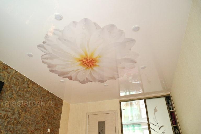160 Глянцевый натяжной потолок с фотопечатью в зал
