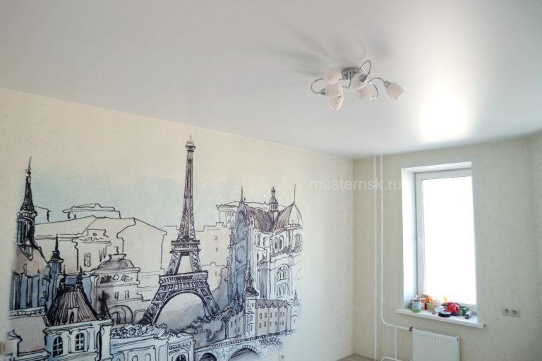 159 Сатиновый натяжной белый потолок в зал Новосибирск