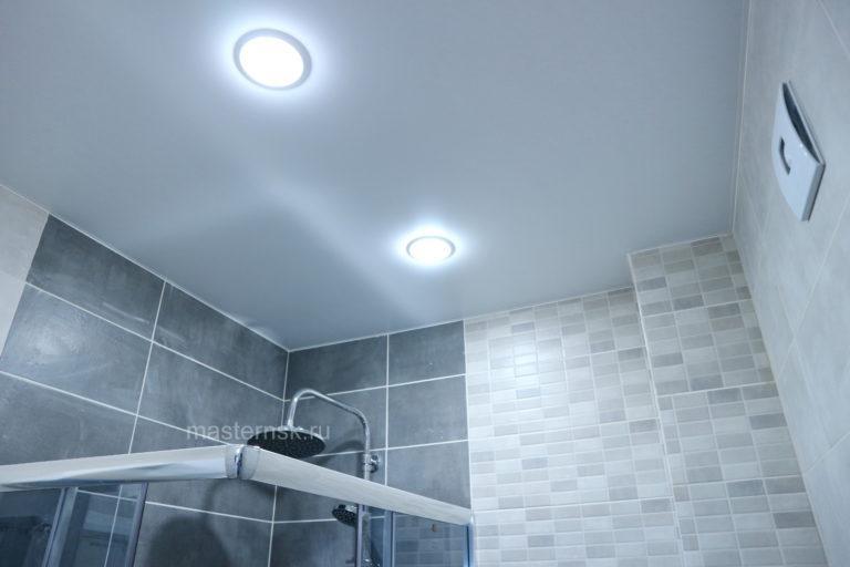 155 Матовый натяжной белый потолок в ванную Новосибирск