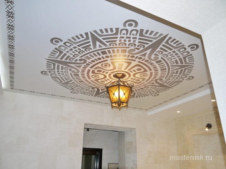 Натяжной потолок матовый с фотопечатью в коридор