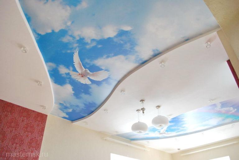 Натяжной потолок матовый с фотопечатью в зал