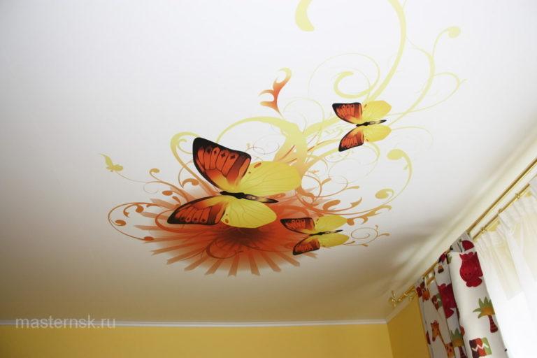 Натяжной потолок матовый с фотопечатью на кухню