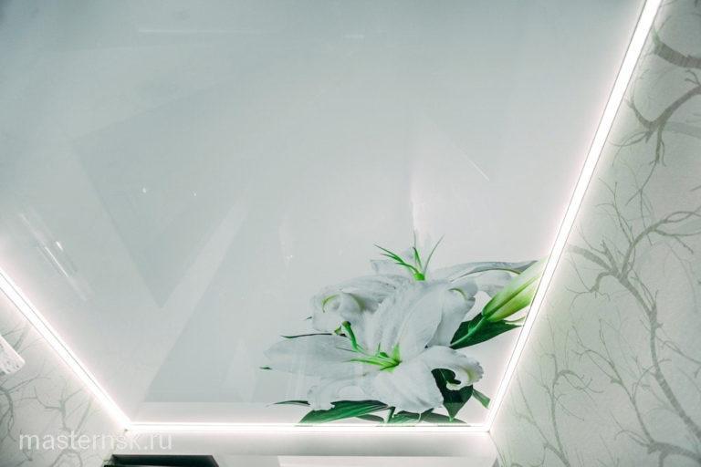 Натяжной потолок глянцевый с фотопечатью цветы в зал