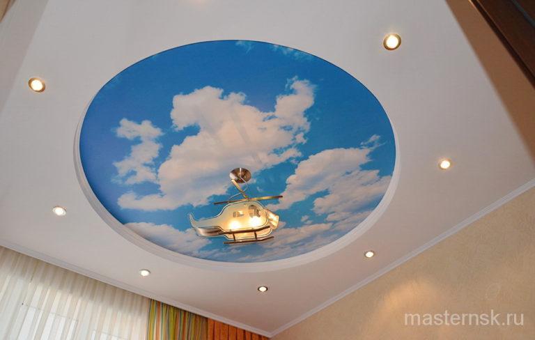 Натяжной потолок матовый с фотопечатью в детскую