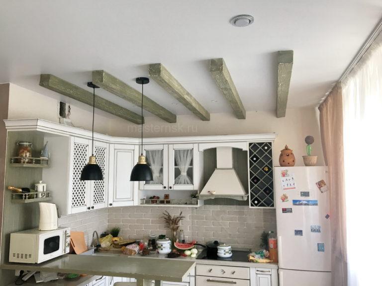 214 Тканевый белый натяжной потолок в кухню Новосибирск