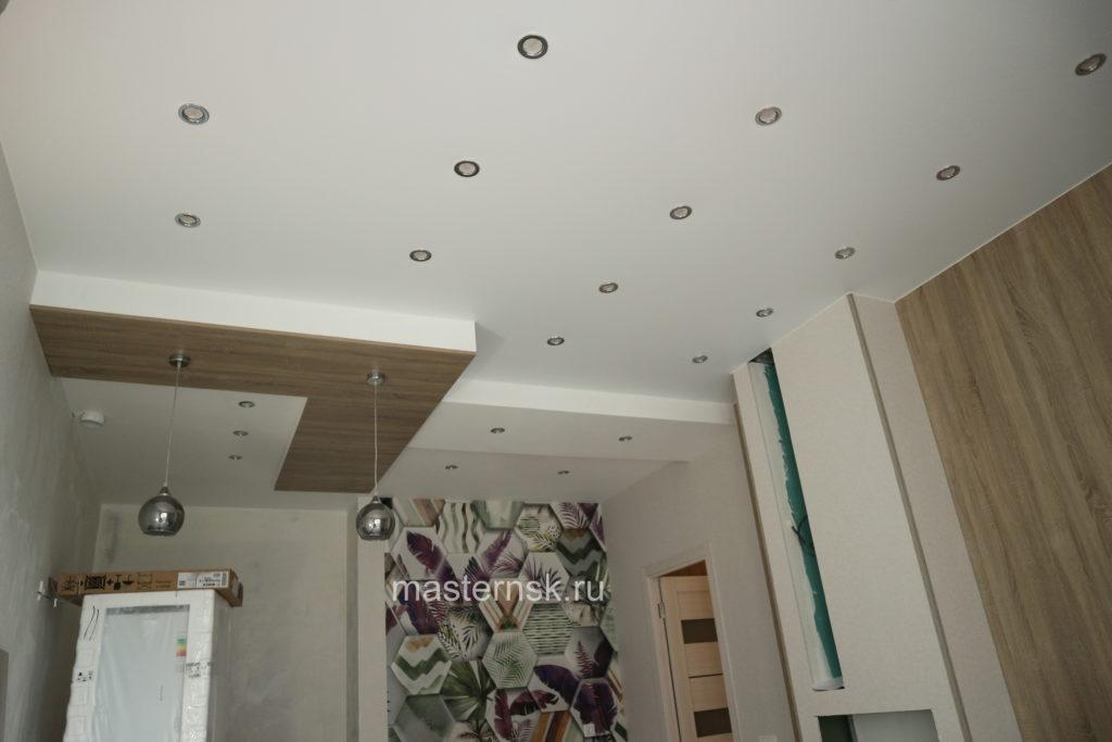 Матовый белый натяжной потолок в кухню Новосибирск