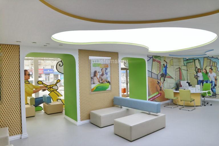 227 Полупрозрачный световой натяжной потолок в зал с подсветкой Новосибирск