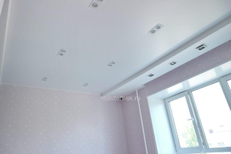 228 Сатиновый белый натяжной потолок в детскую Новосибирск