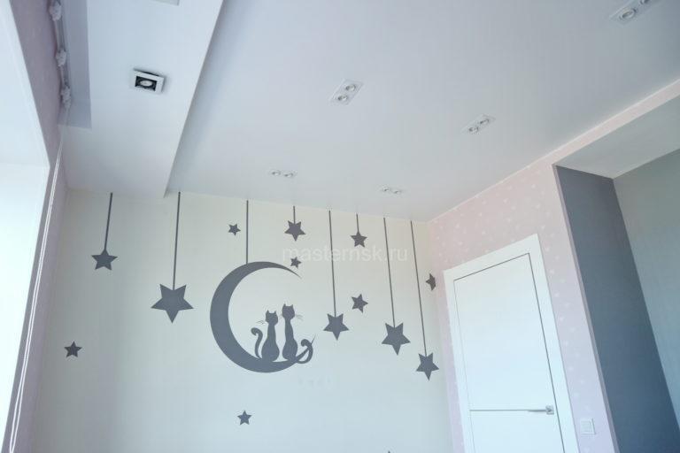 238 Сатиновый белый натяжной потолок в детскую Новосибирск