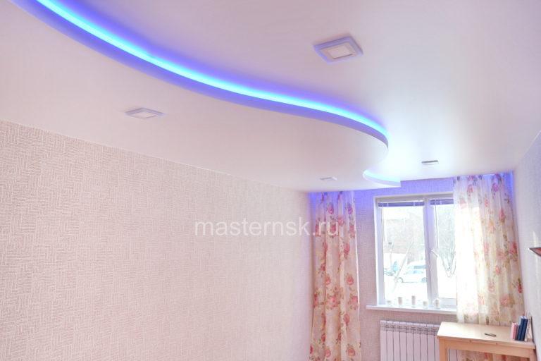 283 Сатиновый белый двухуровневый натяжной потолок в спальню с подсветкой Новосибирск