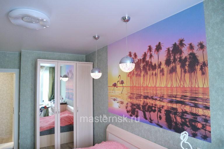 287 Матовый белый натяжной потолок в спальню