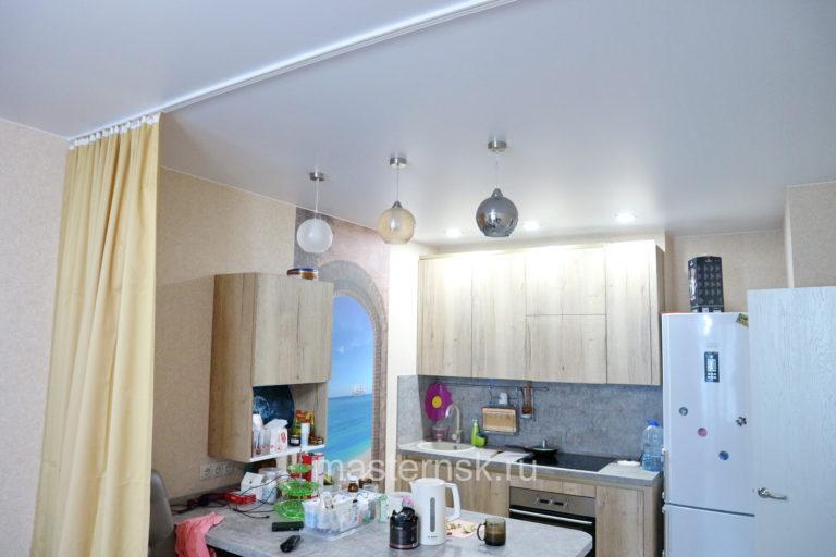 288 Матовый белый натяжной потолок в кухню