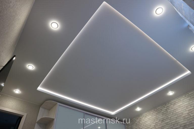 293 Матовый двухуровневый белый натяжной потолок в зал с подсветкой Новосибирск