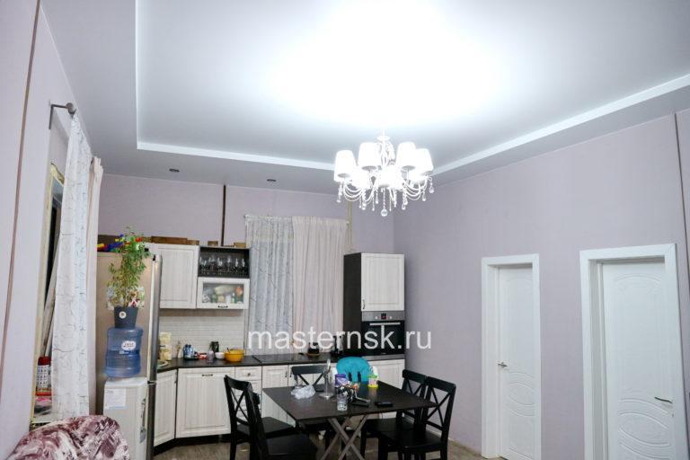 294 Матовый двухуровневый белый натяжной потолок в кухню Новосибирск